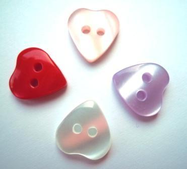 Herz, 2löchrig, schimmernd, Knopf