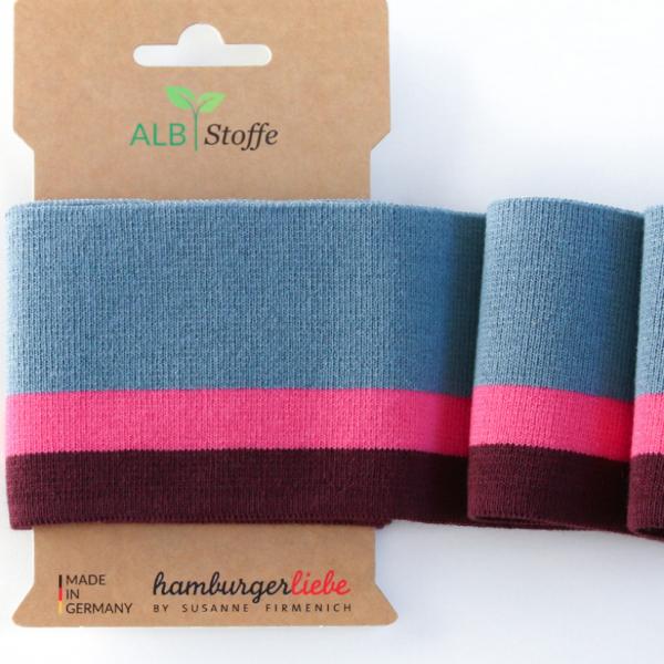 Strickbündchen Cuff Me jeansblau/pink/bordeaux, 110 cm