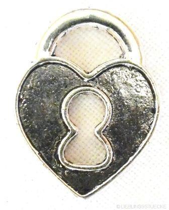 Herz mit Schloß, klein, Charm, nickel