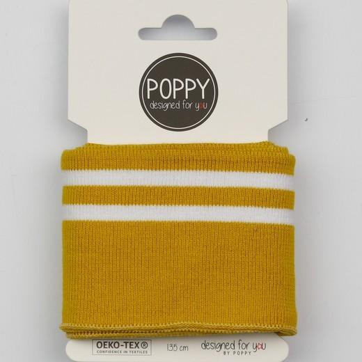 Poppy, Strickbündchen Stripes, senf-weiß, 135 cm