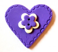 Herz, groß, lila, Fimoknopf *SALE*