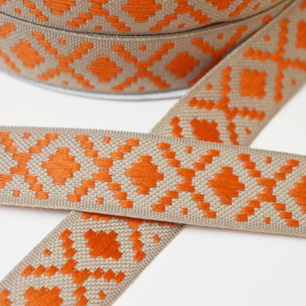 Ethno, beige-orange, Webband *Letzte 1,9 m*