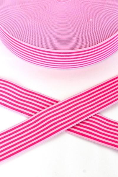 Gummiband breit, Streifen pink-rosa