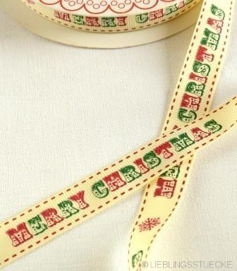 Merry Christmas, grün-rot, Ripsband