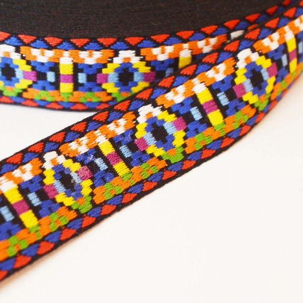 Inka, regenbogen dunkel, Webband breit