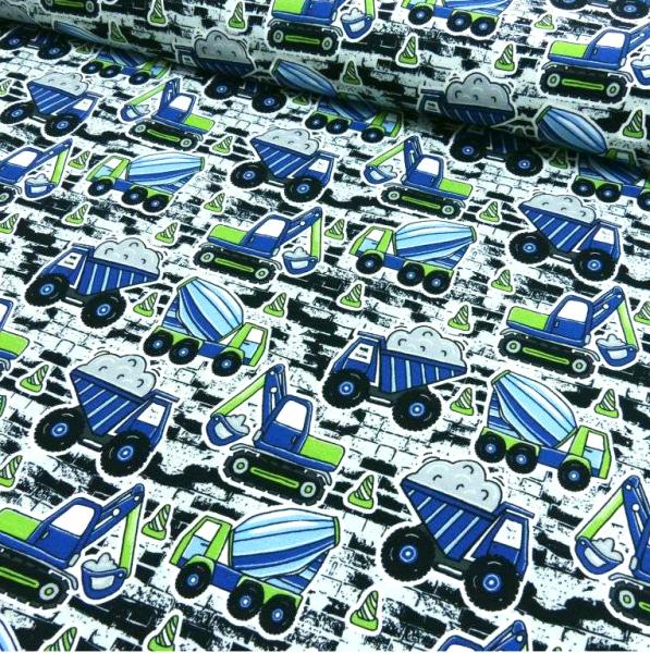 Baufahrzeuge blau/grün, Jersey