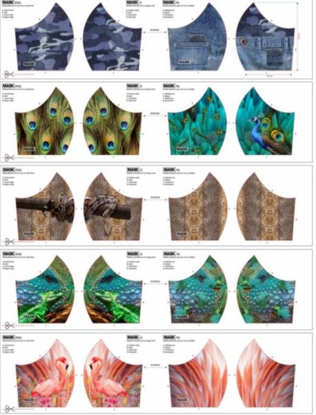 Maskenstoff Digitaldruck Wilde Tiere für 10 Masken, Paneel, Baumwollstof