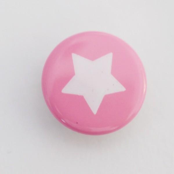 Druckknopf, Stern weiß auf rosa, 10 mm