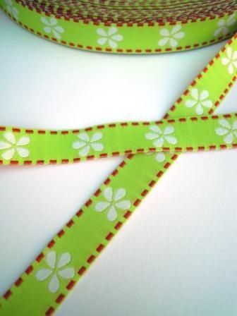 Blümchen, grün, Webband
