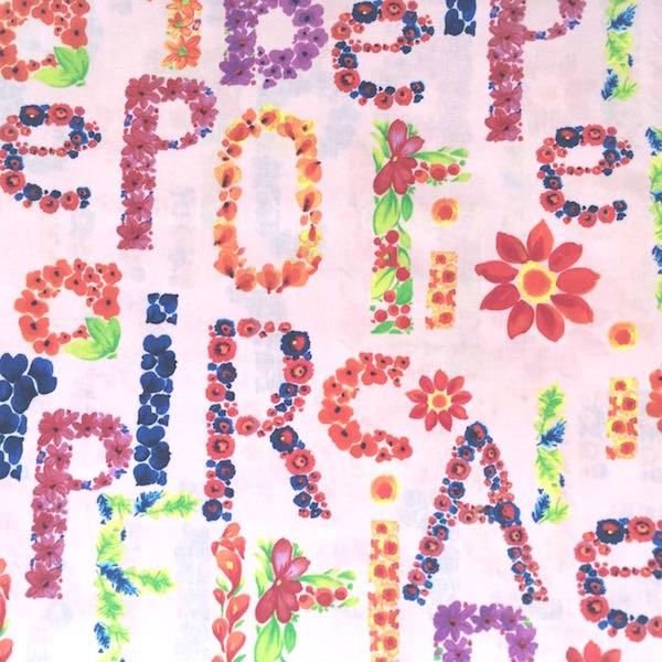 Letters rosa, Baumwollstoff