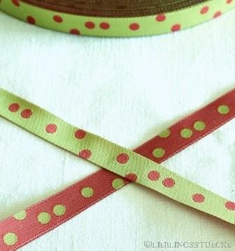Punkteband, grün-rot, Webband beidseitig