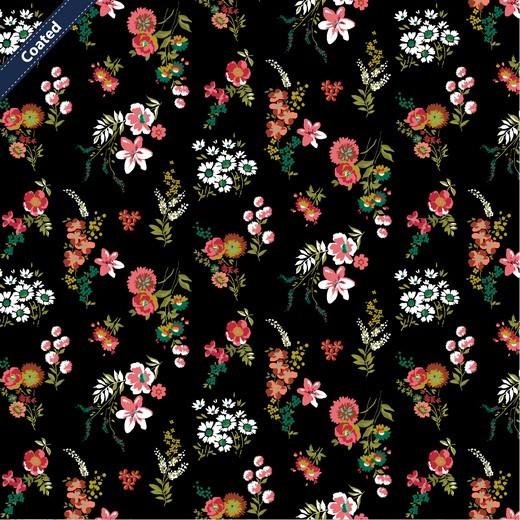 Alma, Laminat/Wachstuch, Wiesenblümchen auf schwarz