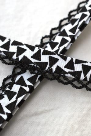 Schrägband mit Häkelborte, Black&White, Triangle