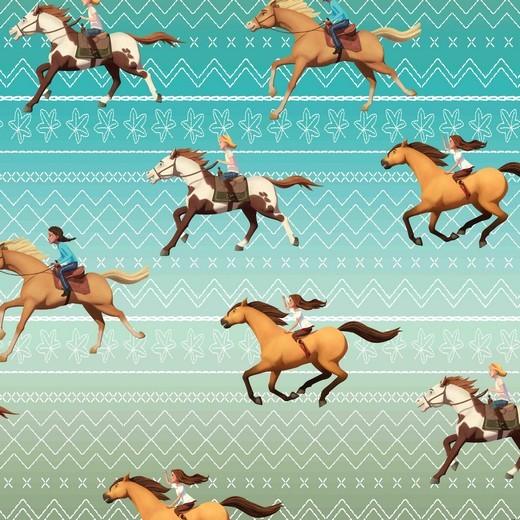Digitaldruck, Horse Spirit Pferde auf hellpetrol, Jersey