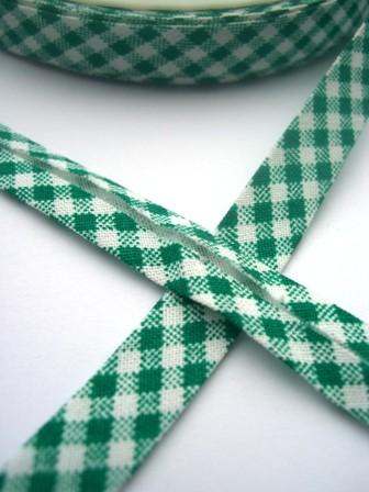 Schrägband, grün kariert