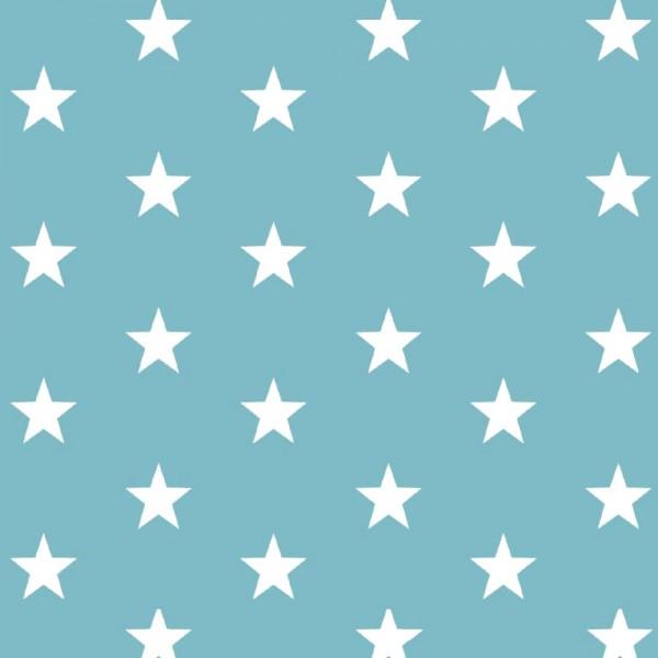 Lili Big Star weiß auf dunklem aqua, Webstoff, waschbar bei 60°