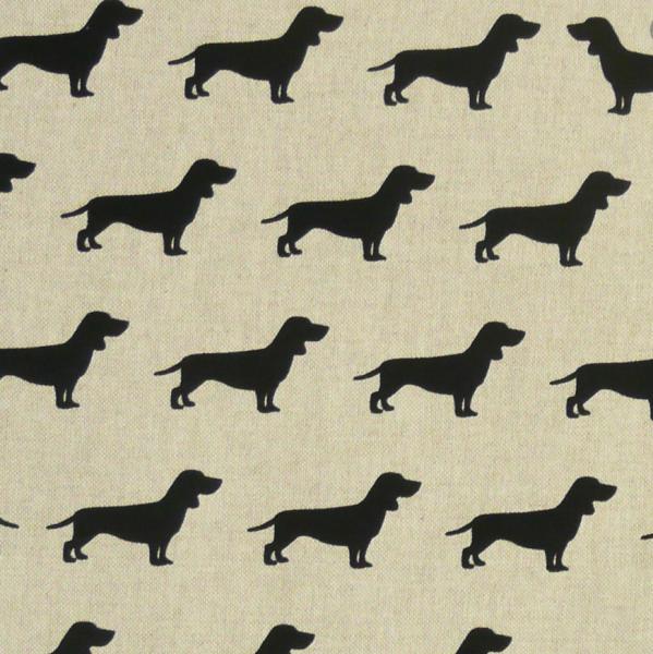 Hunde schwarz auf leinen, Dekostoff