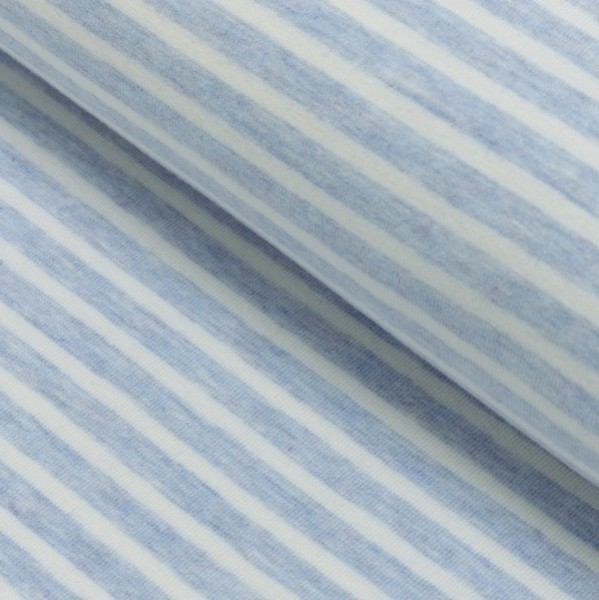Winny, Soft-Streifenjersey hellblau-meliert-weiß