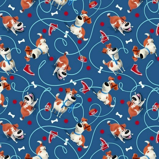 Digitaldruck Pets Hunde&Knochen blau, Jersey