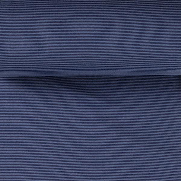 Mini-Ringelbündchen jeansblau/dunkelblau gestreift