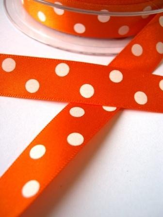 Satinband, polka dots, orange, 15 mm