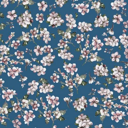 Digitaldruck Apfelblüten blau, Viskosejersey