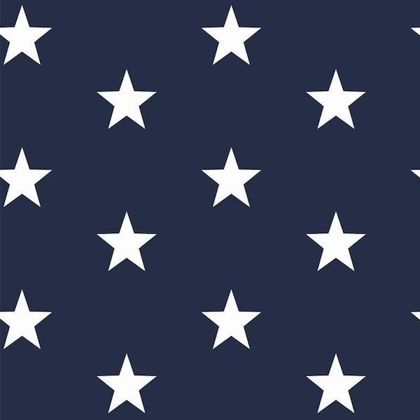 Lili Big Star weiß auf dunkelblau, Webstoff, waschbar bei 60°