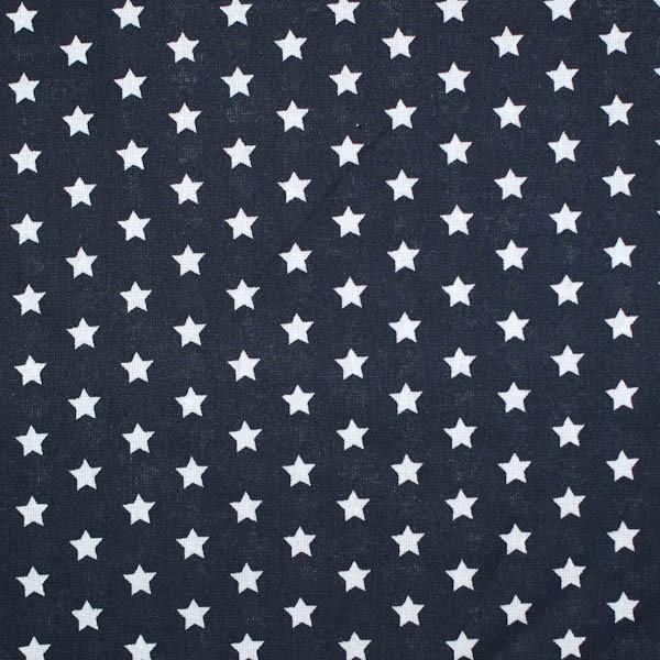 Stenzo kleine Sterne weiß auf schwarz, Popeline