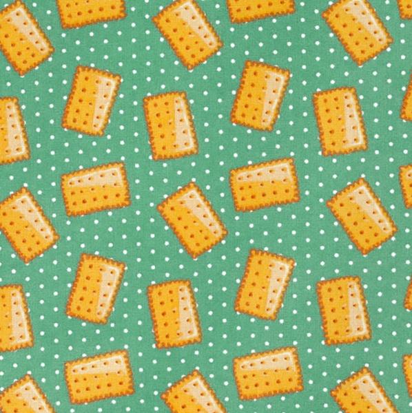 Kekse auf türkisgrün, Baumwollpopeline