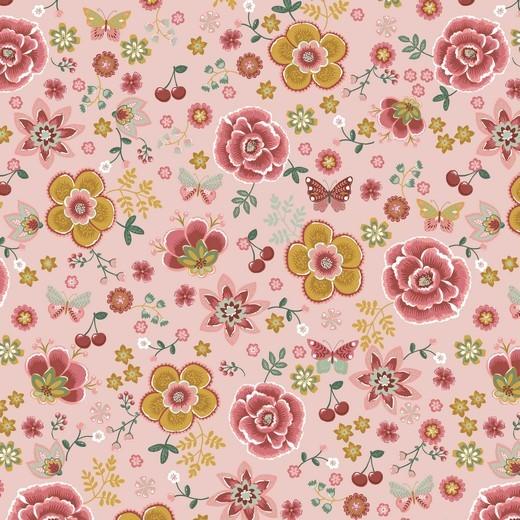 Happy Garden Blumenwiese rosa, Baumwoll-Popeline bei 60° waschbar