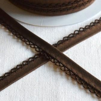 Schrägband mit Häkelborte, dunkelbraun