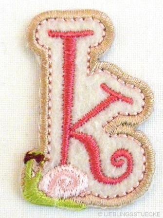 Applikation Buchstabe k, rosa