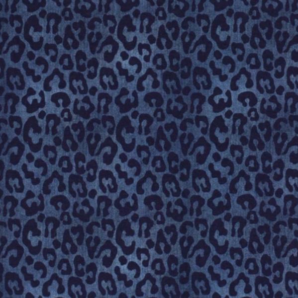 Leo-Print auf jeans-meliert, Jersey