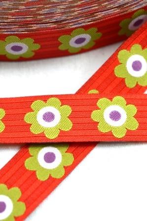 Flowersandstripes, rot, Webband