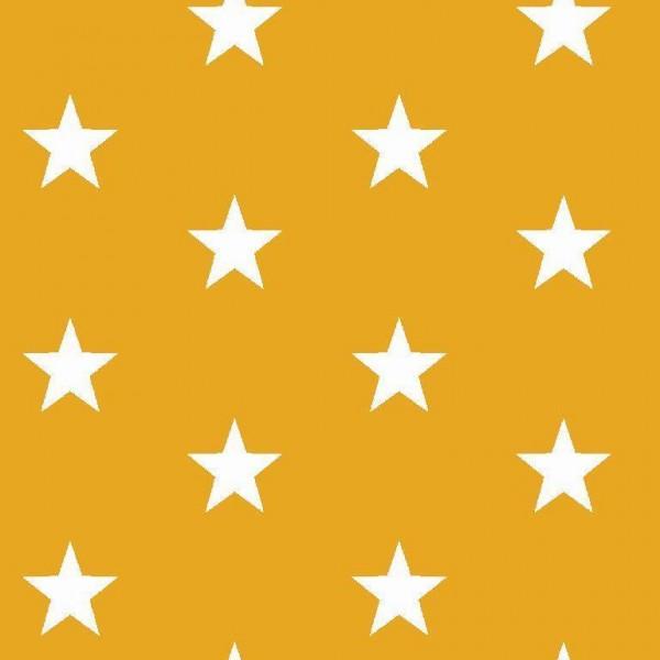 Lili Big Star weiß auf dunkelgelb, Webstoff, waschbar bei 60°