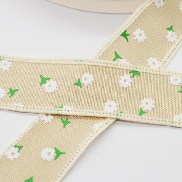 Blumen und Blätter, beige, Baumwollband