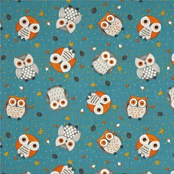 Cute Critters Owl Toss petrolblau, Webstoff