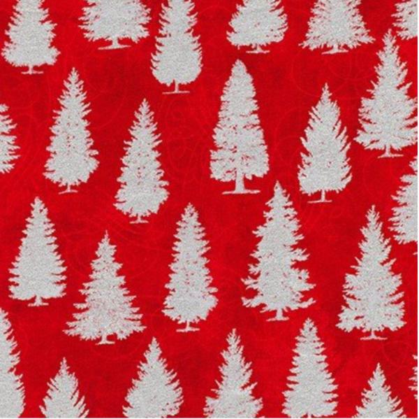 R.Kaufman, Winters Grandeur, Metallic Trees rot, Baumwollstoff
