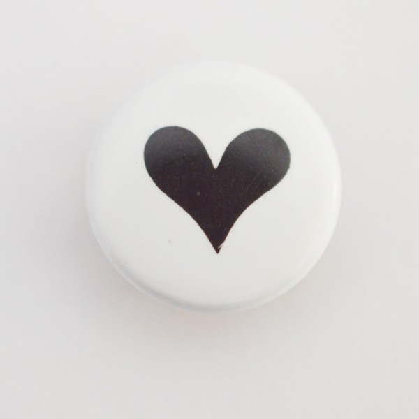 Druckknopf, Herz schwarz auf weiß, 10 mm