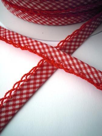 Schrägband mit Häkelborte, Vichykaro, rot