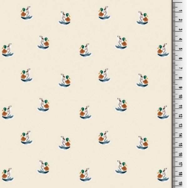 Viskosewebstoff Kleine Ente auf offwhite