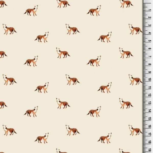 Viskosewebstoff Kleiner Fuchs auf offwhite