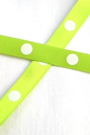 Satinband, single dots, hellgrün, 10 mm