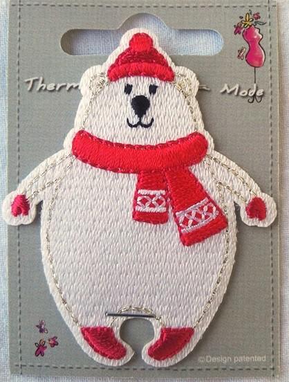 Applikation Eisbär mit rotem Schal