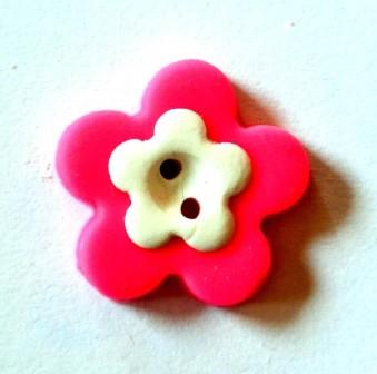 Blume, mini, pink, Fimoknopf *SALE*