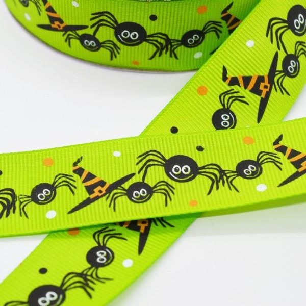 Ripsband, Halloween Spinnen mit Zauberhut