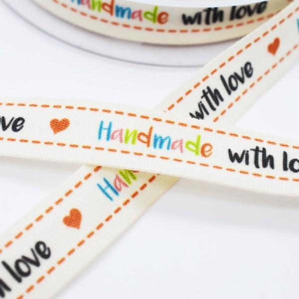 Handmade (bunt) with love (schwarz), Stoffband