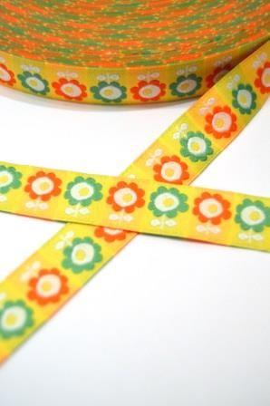 Flowers orange-grün auf gelb, Webband