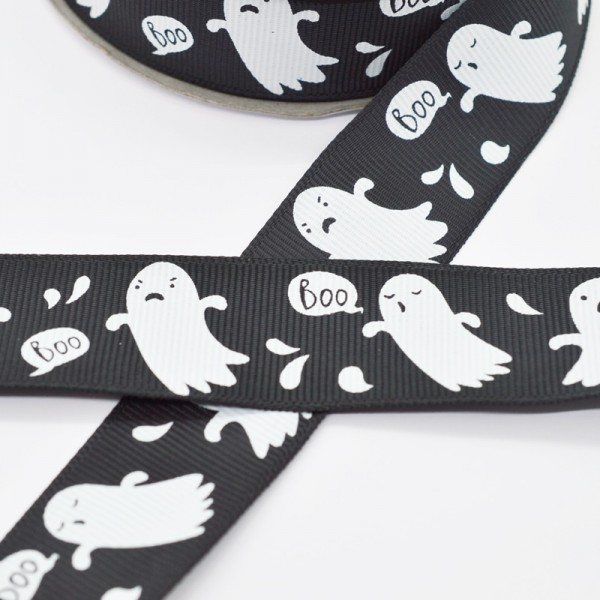 Ripsband, Halloween Gespenster, schwarz
