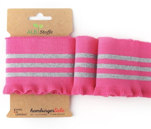 Strickbündchen Cuff Me THIS SUMMER Frill pink/silber, 110 cm